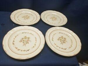 Vintage Cordella Collection Stoneware Set/4  Dinner Plates Beige/Brown Japan