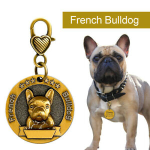 Personalised-Dog-Tags-3D-French-Bulldog-Custom-Dog-Name-ID-Collar-Tag-Gold-Round