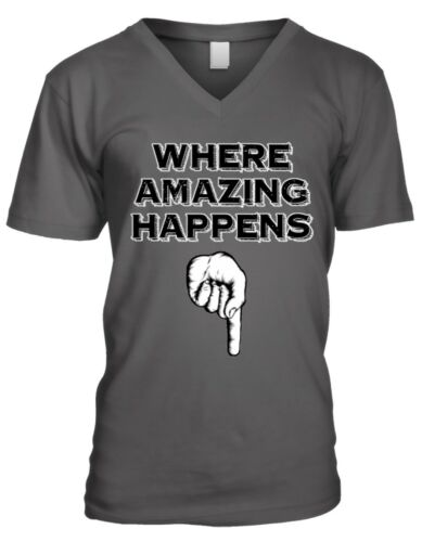 Where Amazing Happens Finger Pointing Down Sexual Flirty Mens V-neck T-shirt