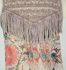 Gimmicks By BKE Small Faded Purple Open Front Festival Sleeveless Fringed Vest