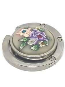 Portable-Foldable-Purse-Handbag-Table-Hook-Hanger-Silver-Floral-Embellished