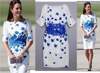 Blue Poppy Floral Print White Cotton Linen Dress Holiday Beach UK Size 8 10 12