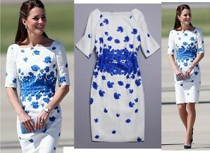 Blue-Floral-Print-White-Cotton-Linen-Formal-Wedding-Party-Pencil-Dress