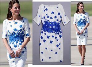 Blue-Poppy-Floral-Print-White-Cotton-Linen-Dress-Holiday-Beach-UK-Size-8-10-12