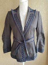 Bcbg maxazria linen jacket with Navy embroidered detail tie waist sz S