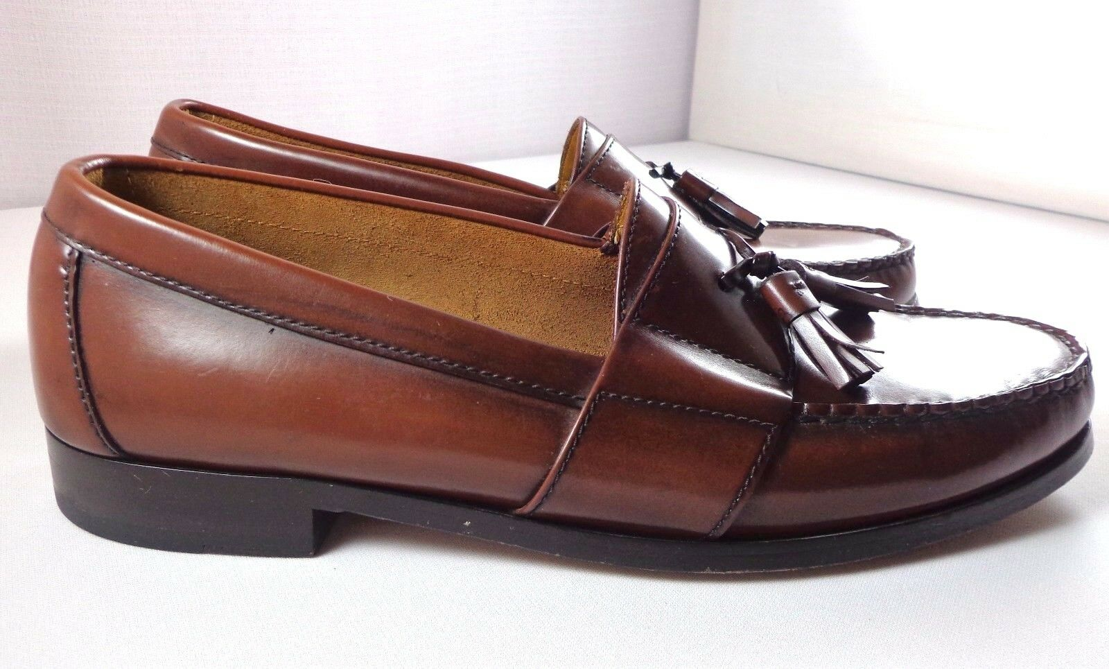 Cole Haan Dress Loafers Mens Brown Leather Tassel Slip On shoes size 8.5 M