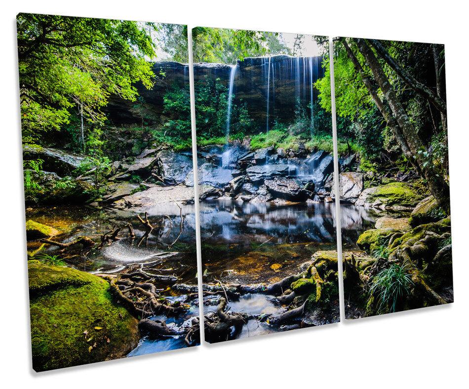 FORESTA pluviale tropicale CASCATA TREBLE TELA Wall Art Box incorniciato stampa