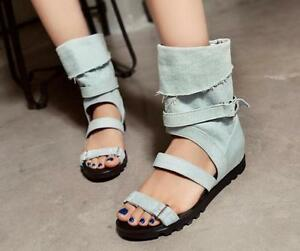 139e9a0fba4a Image is loading Women-Canvas-Gladiator-Sandals-Summer-Peep-Toe-Ankle-