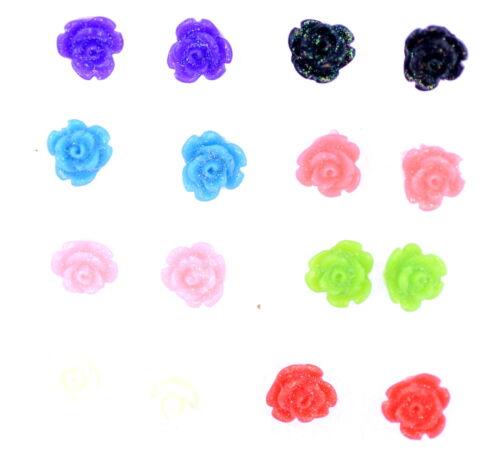Pequeñas De Resina Brillante Flor Rosa Aretes 6 Colores