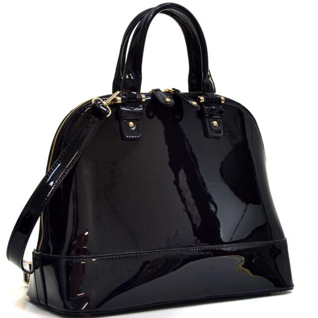 Women Handbag Patent Leather Shoulder Bag Zip Around Satchel Flat Bottom Design