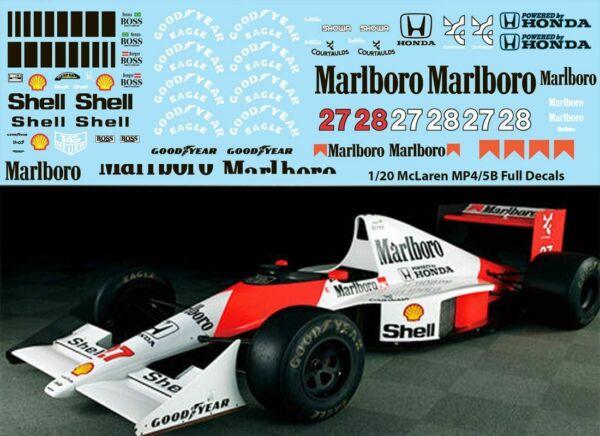 1/20 Mclaren Mp4/5b Full Tamiya Ayrton Senna Berger Decals Tb Decal Tbd67 Pour Assurer Des AnnéEs De Service Sans ProblèMe