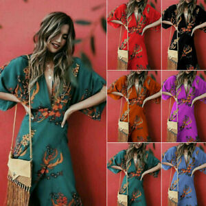 Women-Wrap-Summer-Boho-Floral-Paisley-Maxi-Print-Dress-Ladies-Holiday-Beach