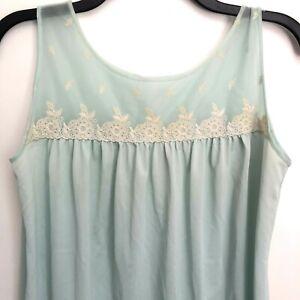 Vintage-Night-Gown-Lingerie-Nightie-Size-M-Medium-Blue-Nylon-Sheer-Lace-Applique