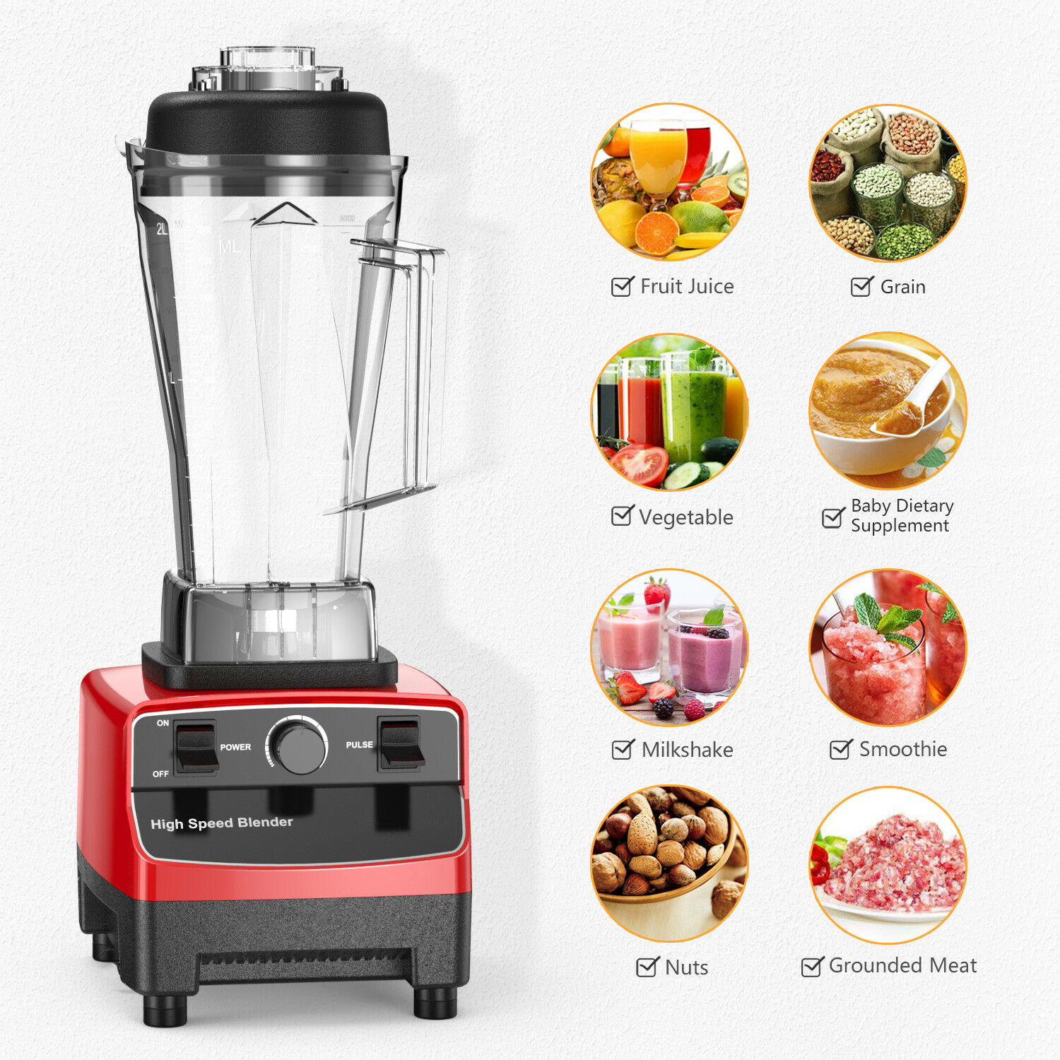 High Speed Blender 28000RPM Smoothie Dessert Ice Crushing Juicer Food Processer