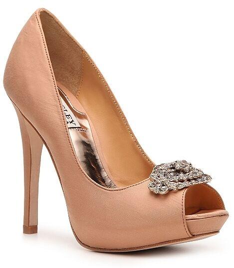 NIB Badgley Mischka Greatful open toe pumps SILK wedding schuhe bridal schuhe wedding camel 7 d98328