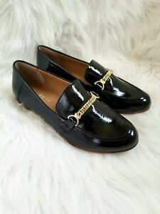 438a4a32540 Image is loading Franco-Sarto-Black-Patent-Leather-Loafers-with-Gold-