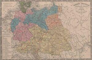 Europe-Prusse-Autriche-Pologne-Atlas-Carte-Vintage-gravure-originale-XIXe