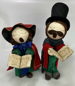 Set-of-2-VTG-1970s-Christmas-Caroler-Figurines-Made-From-Canvas-amp-Coke-Bottles