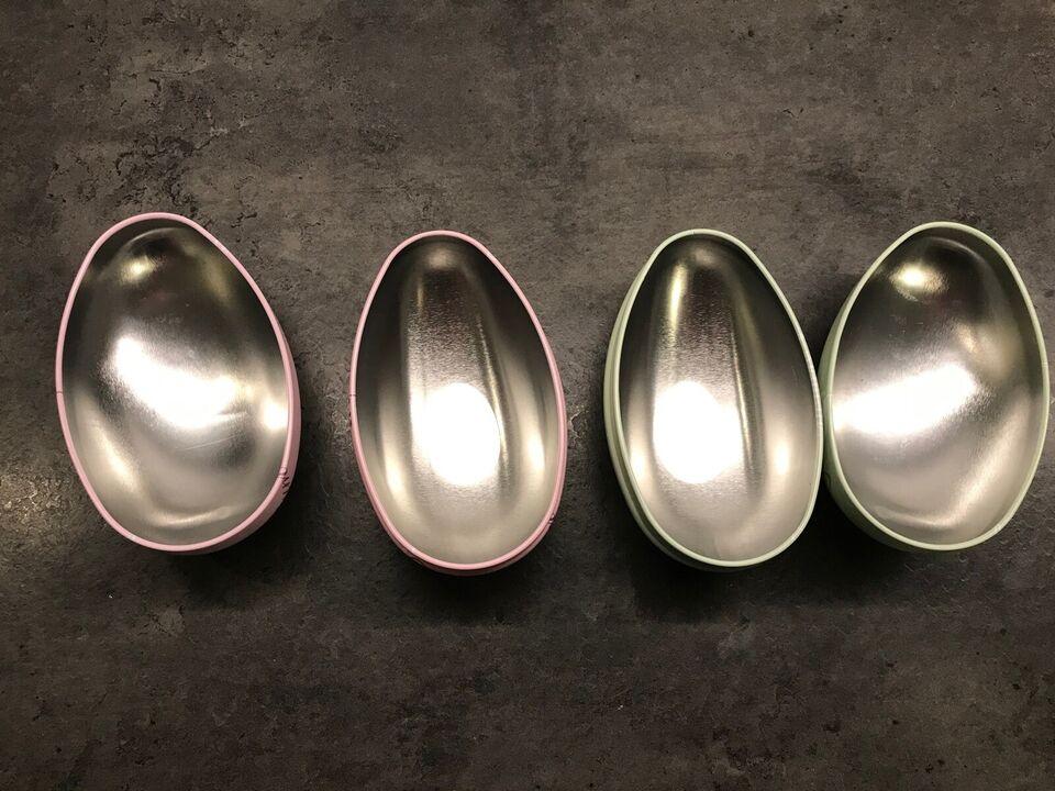 2 påskeæg i metal der kan åbnes , længde 12,5cm