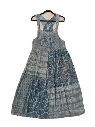 VTG Citron Sage Green Overall Patchwork Dress