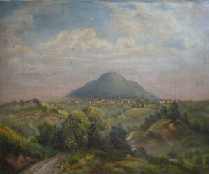 OLGEMALDE-LANDSCHAFT-BERG-EHEM-VULKAN-STADT-WER-KENNT-DAS-MOTIV-ANTIK