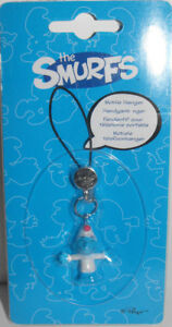 Lazy-Smurf-in-PJs-Dangler-Purse-Dangle-Figurine-Bag-Mobile-Hanger-THE-SMURFS