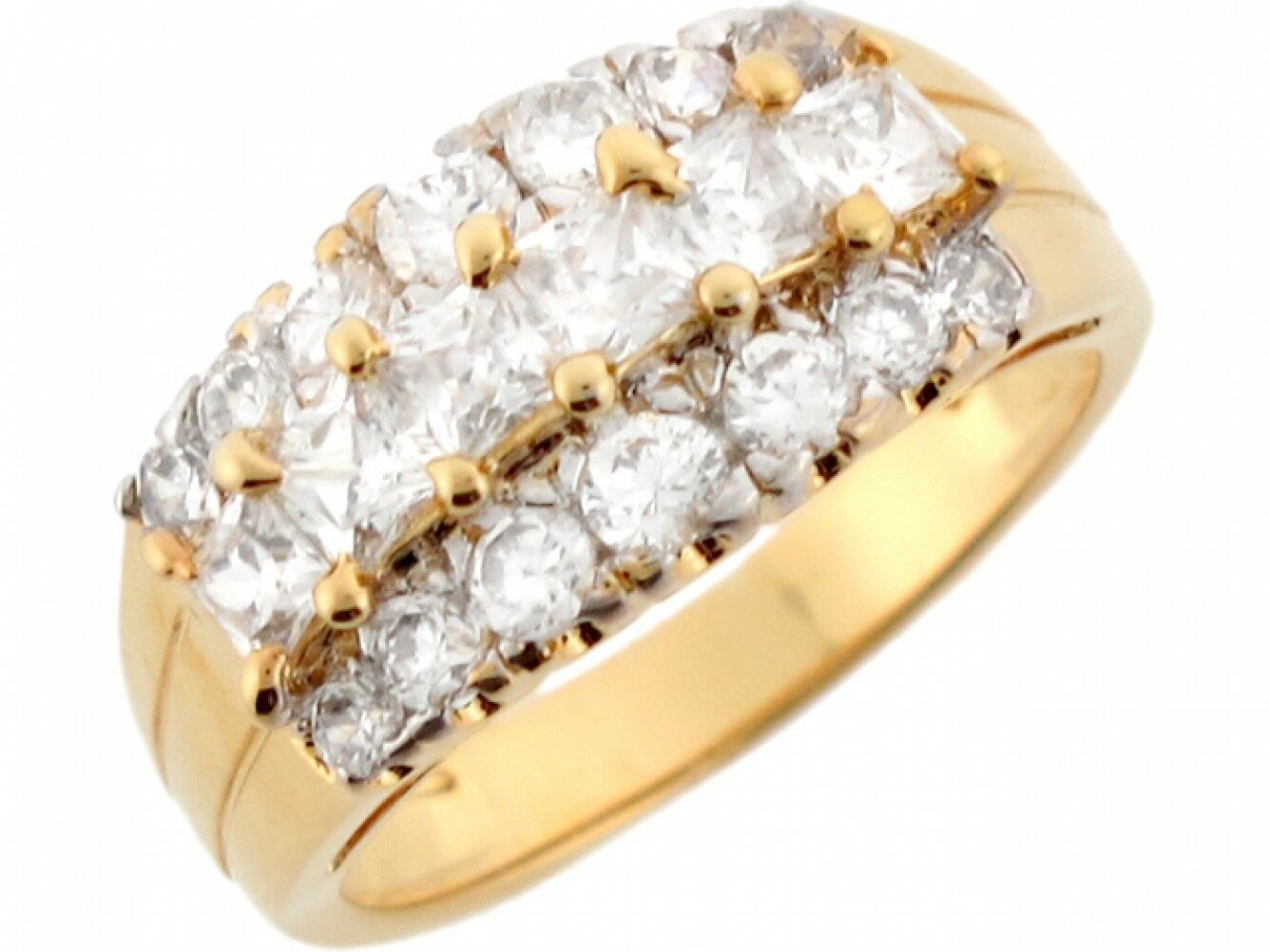 10k or 14k Two Toned Real Solid gold White CZ Fancy Ladies Ring