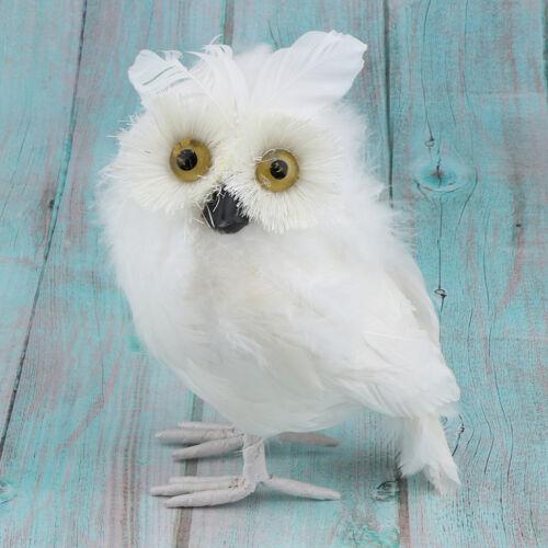2x Furry White/& Brown Owl Stuffed Small Plush Animal Toy Ornament Home Decor