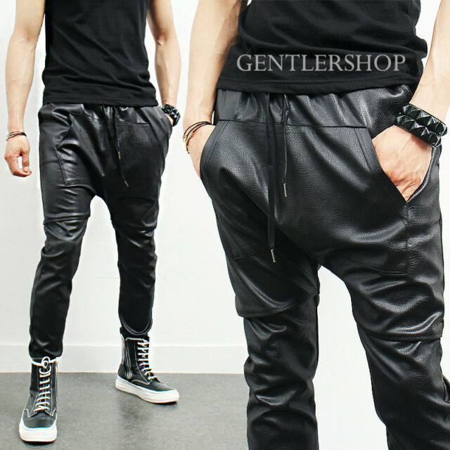 Avant-Garde Mens Kangaroo Pocket Snake Pattern Leather Sweatpants, GENTLERSHOP