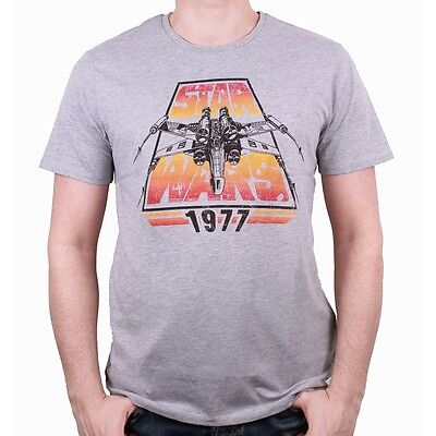 OFFICIAL STAR WARS - 1977 X-WING DISTRESSED PRINT GREY T-SHIRT (BRAND NEW)