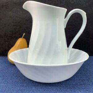 Corning Corelle ENHANCEMENTS White Swirl 32 Oz Pitcher, 8.5 Vegetable Serve Bowl