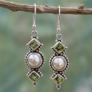 925-Silver-Pearl-Vintage-Earrings-Green-Eardrop-Square-Drill-Dangle-Drop-Jewelry