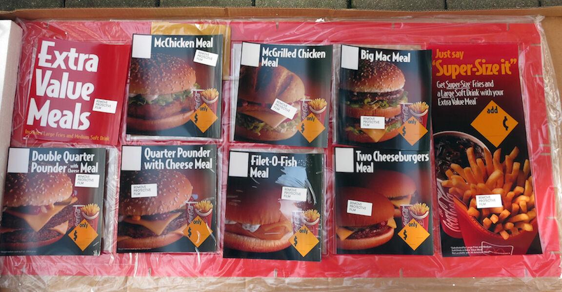 McDonald's Complete EXTRA VALUE MENUBOARD Kit 1993 UNASSEMBLED RARE