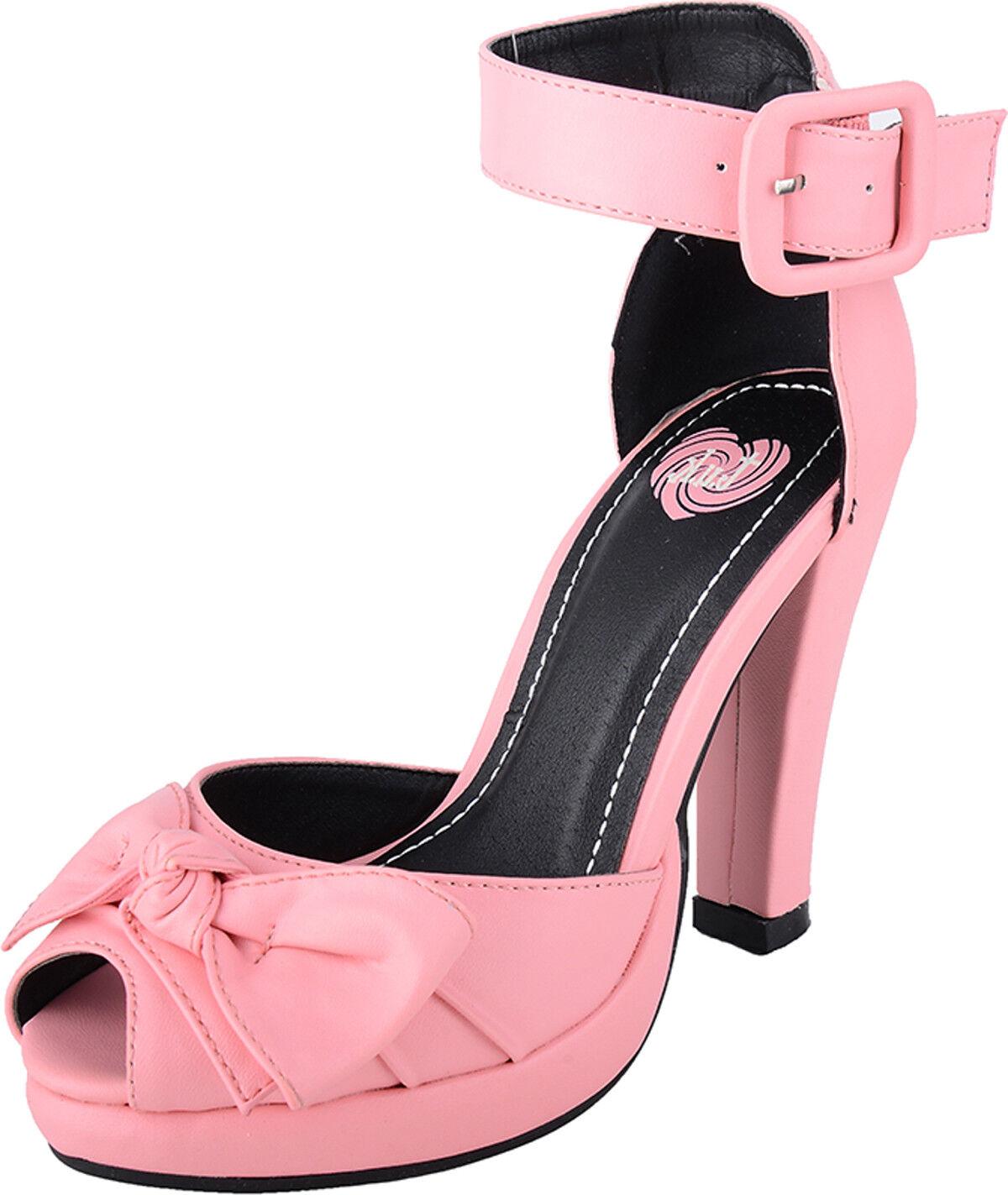 T.U.K. Knot botín con con con tiras Bow pin up tacón alto zapatos rosadodo rockabilly  aquí tiene la última