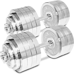 1c998a0f3ac Image is loading Titan-Adjustable-Weight-Chrome-Dumbbells-Set-200-lbs-