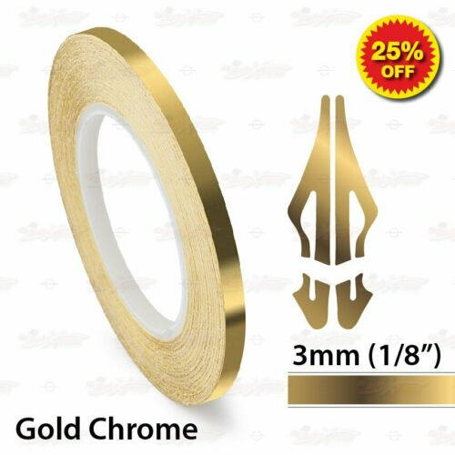 """3mm 1//8/"""" PinStriping Pin Stripe Tape SOLID Line Decal Vinyl Sticker GOLD CHROME"""