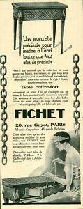 Publicité ancienne table coffre-fort Fichet 1925 issue de magazine DAM