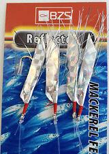 10 pacchetti di mare MULIN Riflettore SGOMBRO Mackeral DECORAZIONI Piume 4 Ganci