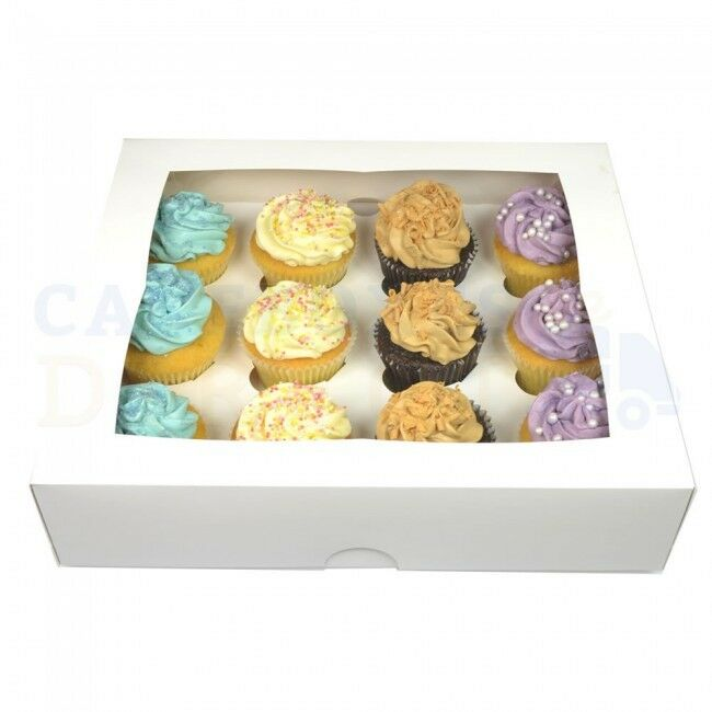 100 X 12 PREMIUM Weiß WINDOW CUP CAKE BOXES + DIVIDERS