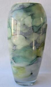 Italian Art Glass Vase Franco Italy Green Color Tones No 464 Mother's Day Gift
