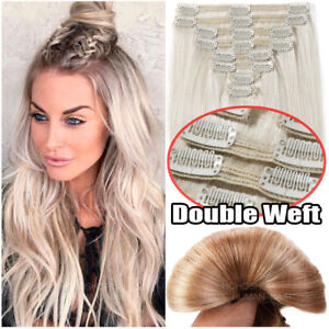 THICK-150G-Clip-In-100-Remy-Human-Hair-Double-Weft-Full-Head-Extensions-Ombre