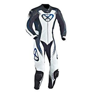Ixon-Starburst-Noir-blanc-BLEU-SUZUKI-YAMAHA-CUIR-MOTO-1-combinaison-pilote