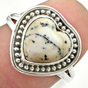 5.42cts Solitaire Natural Dendrite Opal (merlinite) Silver Ring Size 7 T41633