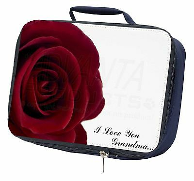 Sistematico Red Rose 'i Love You Grandma' Navy Insulated School Lunch Box Bag, Gra-r3lbn