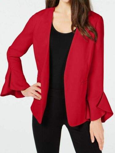 Alfani Flutter Sleeve Jacket  Chinese Red open front Petite List $99.50 JH