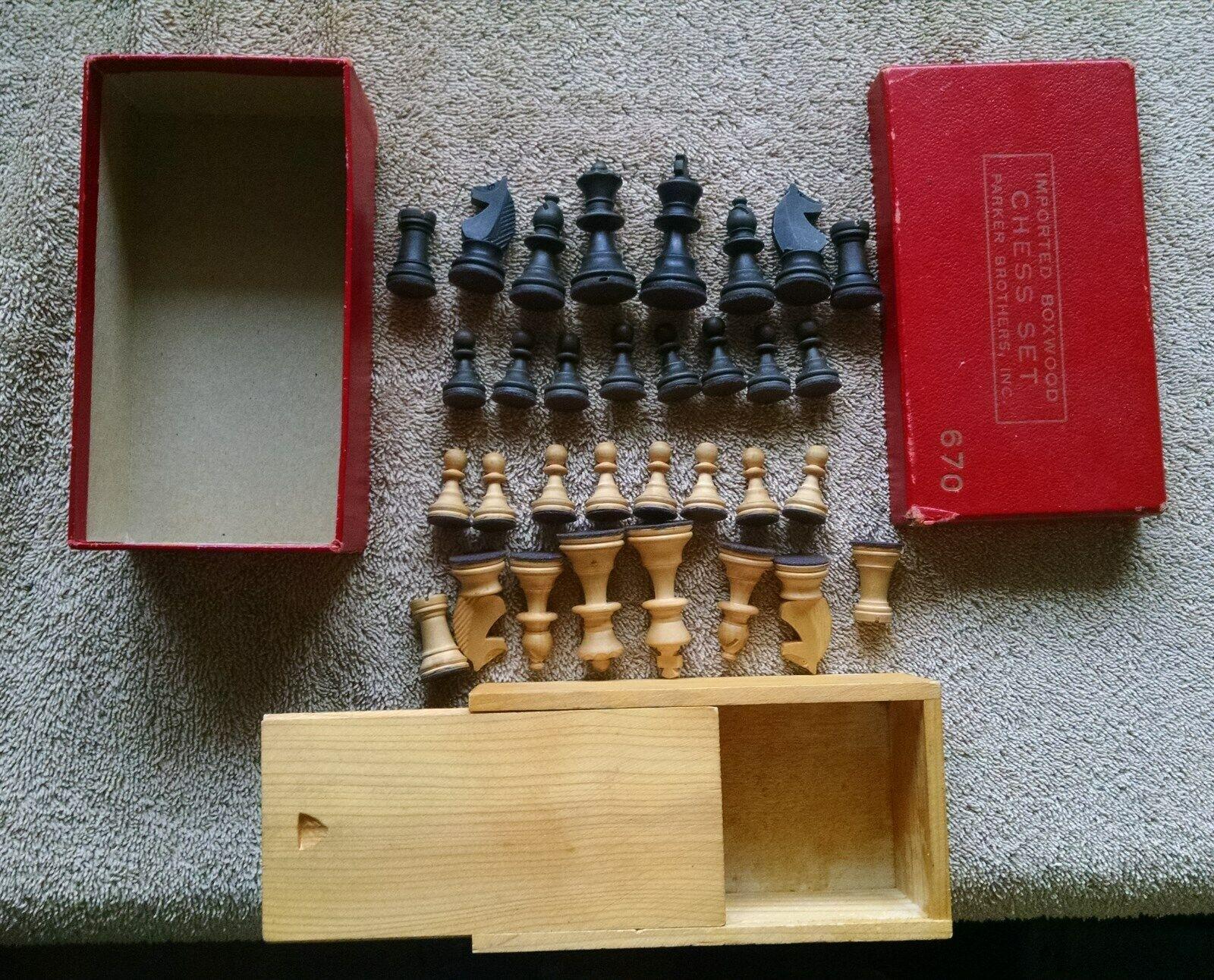 Importés buis Chess Set Parker Brougehers 670 inner & Outer Box 2 1 8 King très bon +