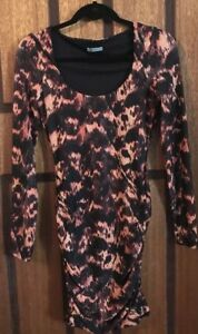 Near-New-Kookai-Long-Sleeve-Print-Stretch-Wiggle-Dress-Size-1-6-8