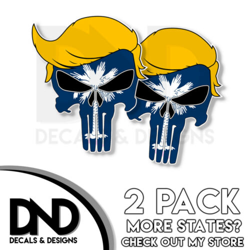 Trump Punisher South Carolina Decal Republican Right Wing Sticker 2 Pack SC