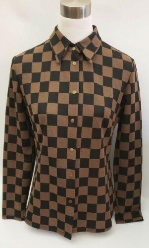 Fendi jeans brown checkered pattern shirt