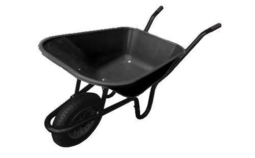 110 Litre BLACK WHEELBARROW Equestrian Wheel Barrow PUNCTURE PROOF Wheel 110L